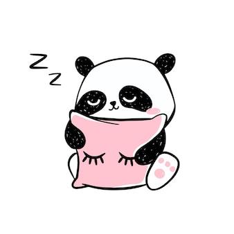 Kleine panda illustratie. schattig handgetekende pandakarakter knuffelen een roze kussen.
