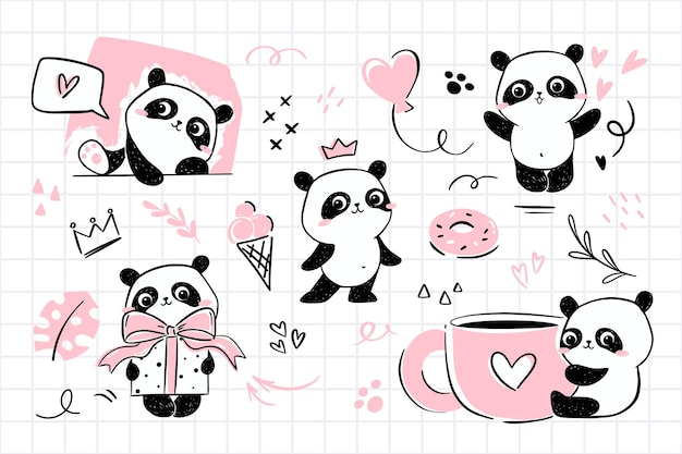 Kleine panda-illustraties met schattig pandakarakter in verschillende poses