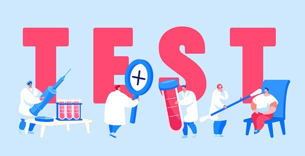 Kleine patiënten en artsenpersonages in laboratorium