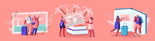 Kleine personages die op zoek zijn naar reisfoto's in een enorm fotoalbum, tropisch strandresort, europese bezienswaardigheden, zomervakantie, herinnering aan reiservaring, reis. cartoon mensen vectorillustratie