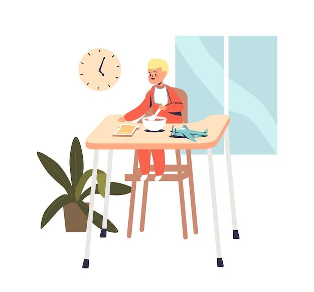 Kleine peuterjongen die ontbijtgranen met vers fruit eet. kid geniet 's ochtends van een heerlijke gezonde maaltijd. kindervoedingsconcept. cartoon platte vectorillustratie