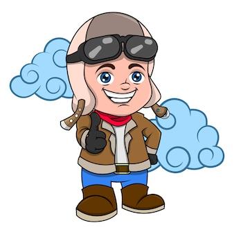 Kleine piloot met retro uniform cartoon