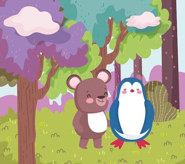 Kleine pinguïn en teddybeer cartoon karakter bos gebladerte natuur