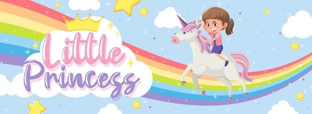 Kleine prinses-logo met meisje rijden op eenhoorn met regenboog op blauwe achtergrond