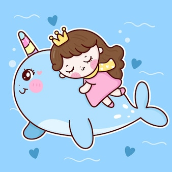 Kleine prinses slapen op schattige narwal cartoon zoete droom kawaii dier