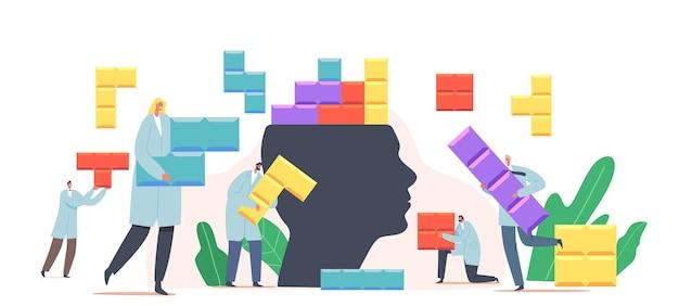 Kleine psycholoog-dokterkarakters zetten kleurrijke puzzelstukjes op een enorm menselijk hoofd. geestelijke gezondheid en zieke geest behandelingsconcept. emotionele stoornis psychologie. cartoon mensen vectorillustratie