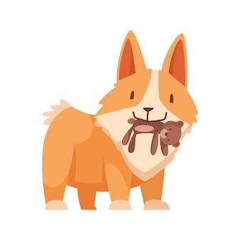 Kleine puppy met speelgoedbeer in zijn tanden cartoon
