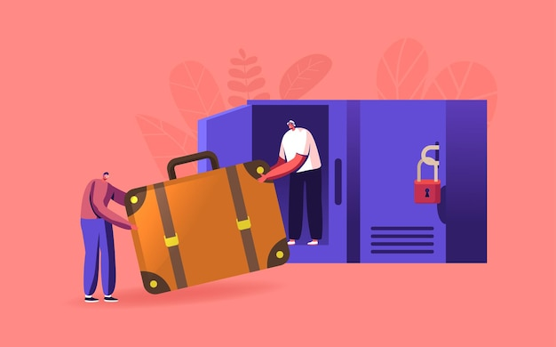 Kleine reizigers met enorme tas in bagageopslag zet tas in kluisje met sleutels op luchthaven of supermarkt