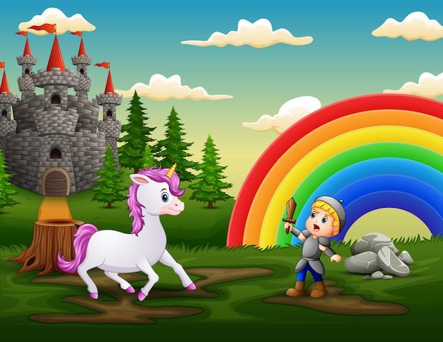 Kleine ridder vecht tegen een eenhoorn in de kasteeltuin
