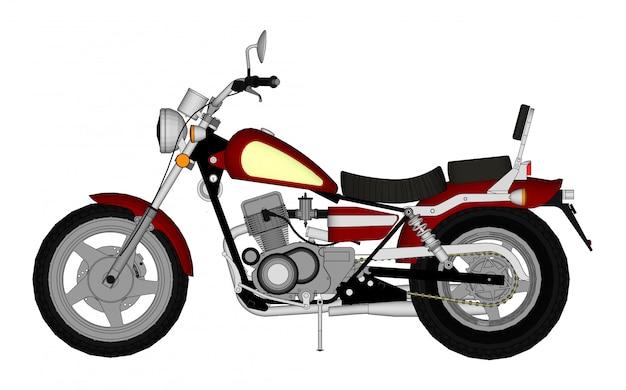 Kleine rode klassieke chopper-look. illustratie met contourlijnen.