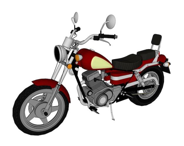 Kleine rode klassieke chopper-look. vectorkleurenillustratie met contourlijnen.