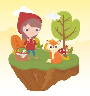 Kleine rode paardrijden kap wolf en bakset voedsel vegetatie natuur sprookje cartoon afbeelding