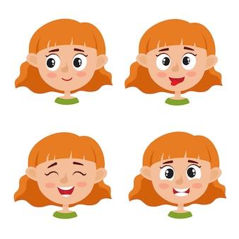 Kleine roodharige meisje blij gezicht expressie, set cartoon geïsoleerd op een witte achtergrond. set van gelukkige jongen emotie gezicht iconen, gezichtsuitdrukkingen.