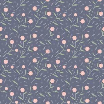 Kleine roze bloeibloem en vectorachtergrond van het bladeren de naadloze patroon