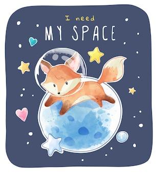 Kleine ruimte vos met planeet en sterren illustratie