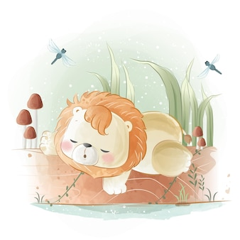 Kleine safari-leeuw die op een boomstam slaapt