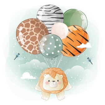 Kleine safari-leeuw die vliegt met ballonnen met dierenprint
