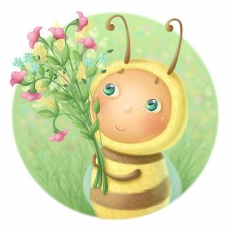 Kleine schattige bij met een boeket van wilde bloemen illustratie