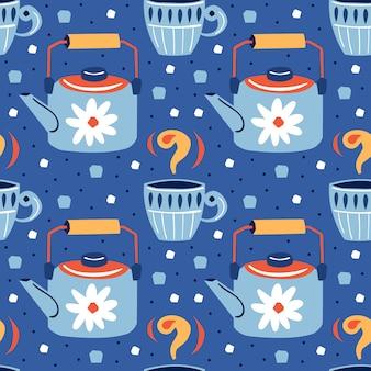 Kleine schattige blauwe kopjes met mooie patronen en schattige kleine blauwe keteltjes met een rood deksel en witte bloemen. hand getekend naadloos patroon