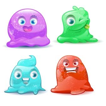Kleine schattige cartoon kleurrijke glitter