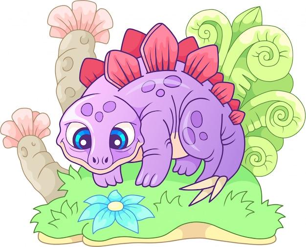 Kleine schattige cartoon stegosaurus