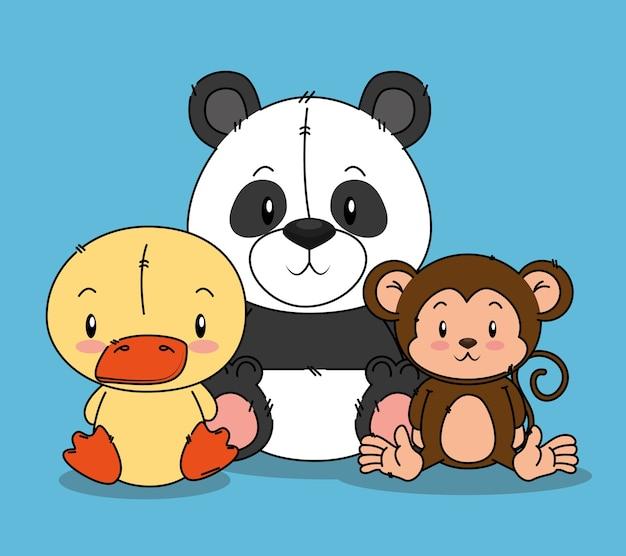 Kleine schattige dieren groep