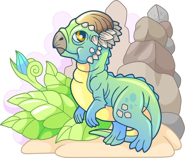 Kleine schattige dinosaurus pachycephalosaurus
