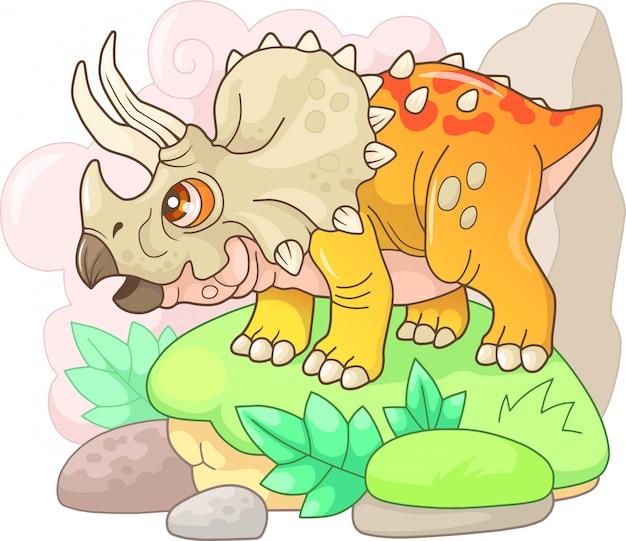 Kleine schattige dinosaurus triceratops
