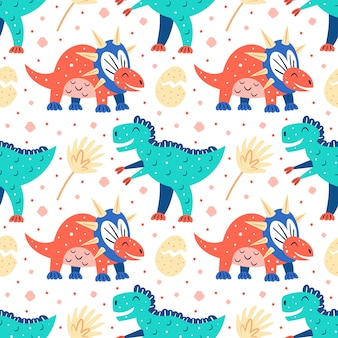 Kleine schattige dinosaurussen en palmbladeren. platte cartoon kleurrijke hand getekend naadloze patroon