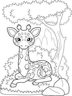 Kleine schattige giraf ligt op het gras, kleurboek