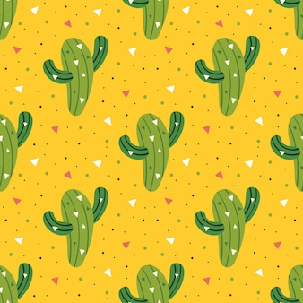 Kleine schattige groene cactus naadloze patroon