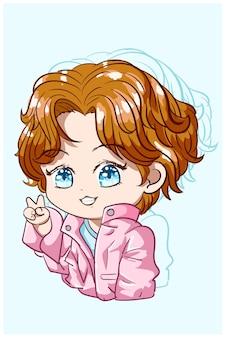 Kleine schattige jongen met blauwe ogen en roze jasje, chibi-personage