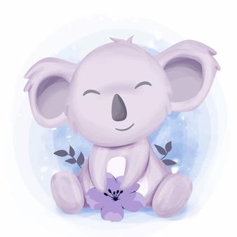 Kleine schattige koala voelt zich gelukkig