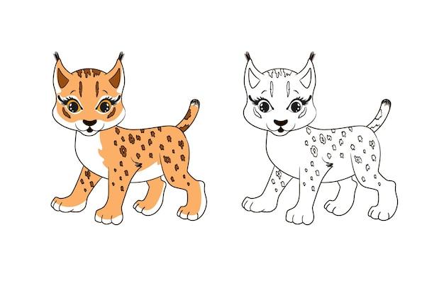 Kleine schattige lynx met kwastjes aan de oren. kleurplaat voor kinderen. vectorillustratie in cartoon-stijl, geïsoleerde lijntekeningen