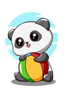 Kleine schattige panda met bal in de cartoonillustratie van de zomervakantie