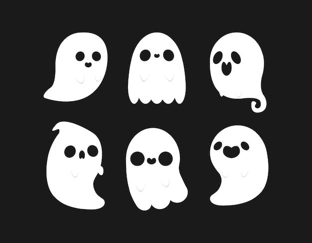 Kleine schattige spokencollectie happy halloween set platte enge spookachtige monsters