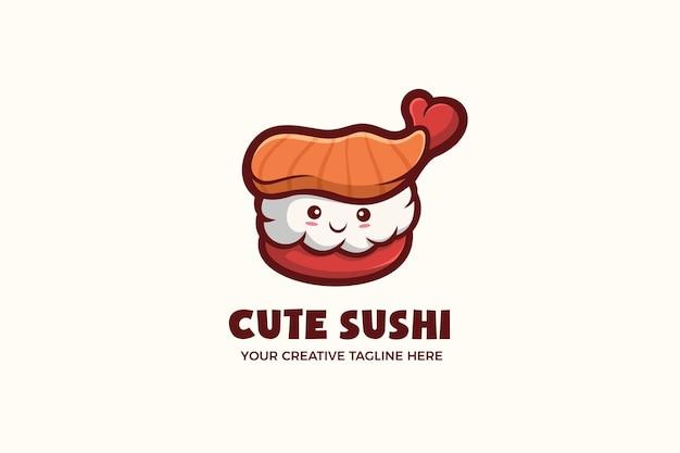 Kleine schattige sushi mascotte karakter logo sjabloon