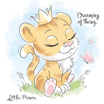 Kleine schattige tijger droomt. reeks illustraties droom van het zijn. mode illustratie tekening in moderne stijl voor kleding. Premium Vector