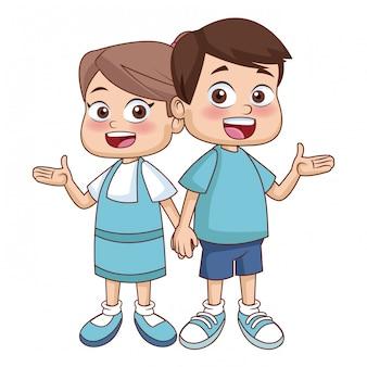 Kleine schoolkinderen cartoon