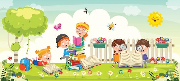 Kleine schoolkinderen die in park bestuderen