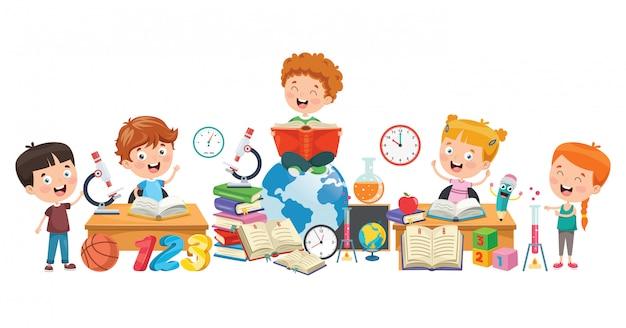 Kleine schoolkinderen leren
