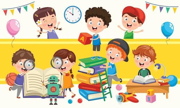 Kleine schoolkinderen studeren en leren