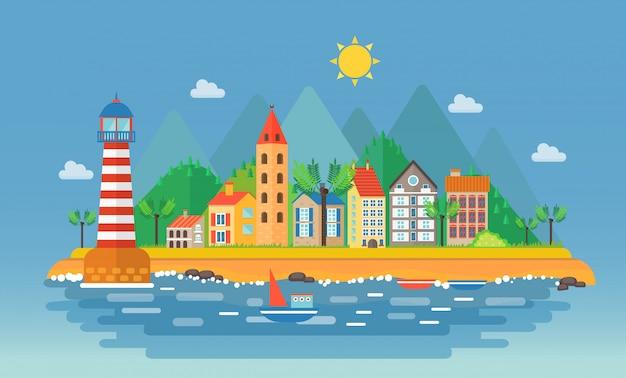 Kleine stad dichtbij bergenlandschap