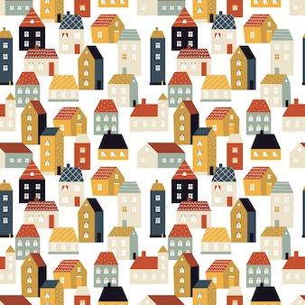 Kleine stad, schattig scandinavisch huizen naadloos patroon