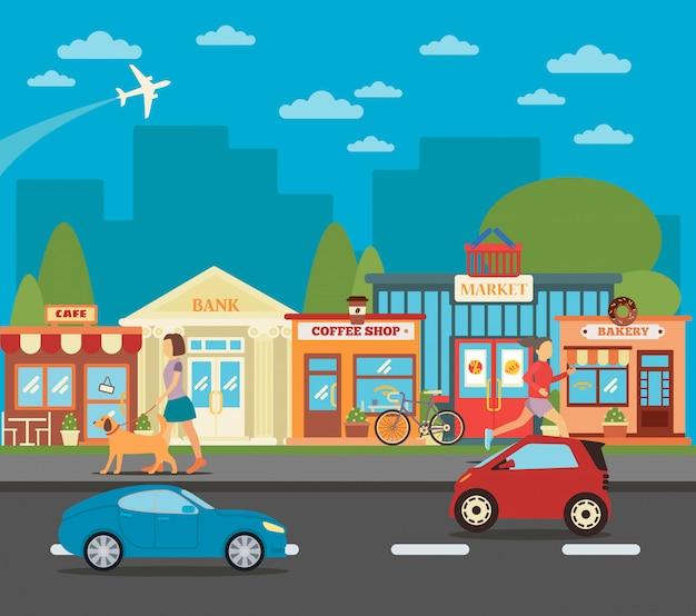 Kleine stad. stedelijke stadsgezicht met winkels, actieve mensen en auto's. vector illustratie