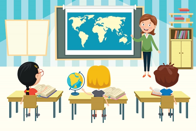 Kleine studenten die aardrijkskunde bestuderen