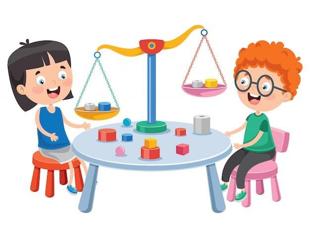 Kleine studenten die schalen van rechtvaardigheid gebruiken