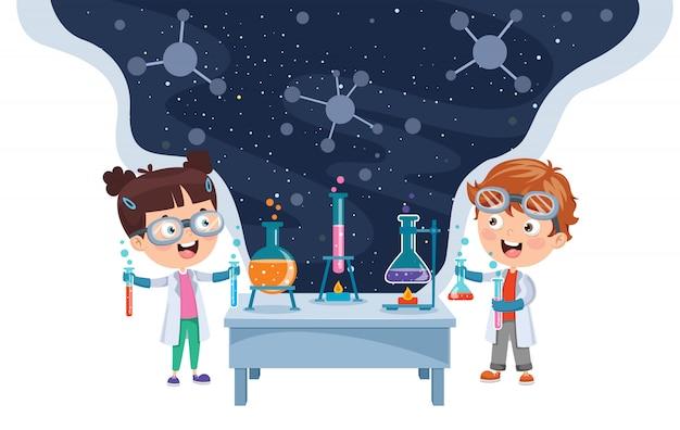 Kleine studenten doen chemisch experiment