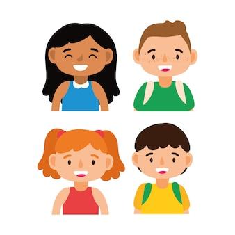 Kleine studenten kids avatars tekens vector illustratie ontwerp