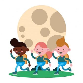 Kleine studenten lopen stripfiguren